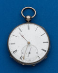 Timepieces:Pocket (post 1900), Swiss Unmarked Silver Key Wind Pocket Watch. ...