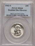 Washington Quarters: , 1943-S 25C Doubled Die Obverse MS64 PCGS. PCGS Population (49/21).NGC Census: (24/15). (#5823)...