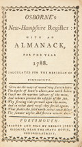 Books:First Editions, Osborne's New-Hampshire Register: With an Almanack, for the Year1788. Portsmouth: Printed and Sold by George Jerry Osbo...
