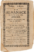 Books:First Editions, John Tulley. An Almanack for the Year of Our Lord, MDCXCI.Cambridge, Massachusetts: Printed by Samuel Green and...