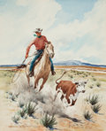 Western, STANLEY M. LONG (American, 1892-1972). Coming In. Watercolor on paper. 21 x 17 inches (53.3 x 43.2 cm). Signed lower lef...