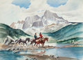 Western, STANLEY M. LONG (American, 1892-1972). Timber Line. Watercolor on paper. 22 x 30 inches (55.9 x 76.2 cm). Signed lower l...