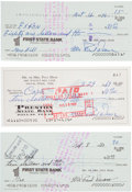 Autographs:Checks, 1969-80 Paul Dean Signed Checks Lot of 3. ...