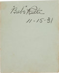 "Autographs:Others, 1931 ""Babe"" Ruth Signed Album Page...."