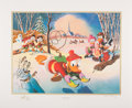 Memorabilia:Comic-Related, Carl Barks Snow Fun Gold Plate Edition Lithograph #73/100 (AnotherRainbow, 1989)....