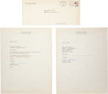 Baseball Collectibles:Others, 1988 Harmon Killebrew Signed Letters Lot of 2....