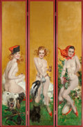 Paintings, HOWARD CHANDLER CHRISTY (American, 1872-1952). Triptych of Three Nudes, Hunting, Fencing, and Tambourine, decorative foldi... (Total: 3 Items)