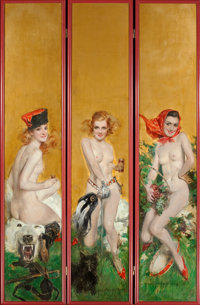HOWARD CHANDLER CHRISTY (American, 1872-1952) Triptych of Three Nudes, Hunting, Fencing, and Tambourine, decora