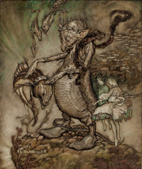 ARTHUR RACKHAM (British, 1867-1939) The Fish King and the Dog Fish, 1904 Watercolor and ink on paper