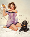 Pin-up and Glamour Art, GIL ELVGREN (American, 1914-1980). Ticklish Situation, 1957.Oil on canvas. 30.25 x 24.25 in.. Signed lower left. ...