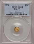 California Fractional Gold: , 1872 25C Indian Octagonal 25 Cents, BG-791, R.3, MS64 PCGS. PCGSPopulation (92/17). NGC Census: (18/21). (#10618)...