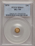 California Fractional Gold, 1876 25C Indian Octagonal 25 Cents, BG-799, At least High R.6,MS64+ PCGS. PCGS Population (24/12). NGC Census: (4/1). (#...
