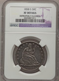1858-S 50C --Improperly Cleaned--NGC Details. XF. NGC Census: (5/43). PCGS Population (15/49). Mintage: 476,000. Numisme...