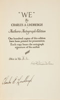 Books:Signed Editions, Charles A. Lindbergh. We. New York: G. P. Putnam's Sons,1927. . First edition, presentation issue, limited to...