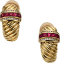 Estate Jewelry:Earrings, Ruby, Diamond, Gold Earrings, David Yurman. ... (Total: 2 Items)