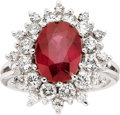 Estate Jewelry:Rings, Ruby, Diamond, 18k White Gold Ring. ...