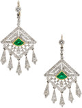 Estate Jewelry:Earrings, Emerald, Diamond, Platinum, Gold Earrings. ... (Total: 2 Items)