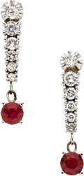 Estate Jewelry:Earrings, Diamond, Ruby, White Gold Earrings. ... (Total: 2 Items)