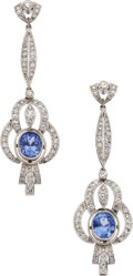 Estate Jewelry:Earrings, Sapphire, Diamond, Platinum Earrings. ... (Total: 2 Items)