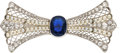 Estate Jewelry:Brooches - Pins, Edwardian Sapphire, Diamond, Seed Pearl, Platinum Brooch. ...