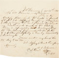 """Autographs:Military Figures, [Texas Rangers] Middleton Tate Johnson Document Signed """"M. T. Johnson / Col Coma [Colonel Commanding] / Texas Rang..."""
