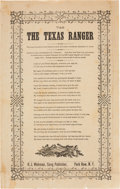 "Miscellaneous:Broadside, ""The Texas Ranger"" Song Sheet. One page, 6"" x 9.5"", ca.1874, ""H. J. Wehman, Song Publisher, Park Row, N.Y."" Theson..."