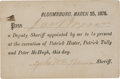Political:Small Paper (pre-1896), Molly McGuires: Bloomsburg Execution Ticket....