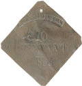 Antiques:Black Americana, 1835 Charleston SERVANT Slave Hire Badge. Number 810....