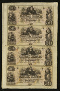 Obsoletes By State:Louisiana, New Orleans, LA- Canal Bank $50-$50-$50-$50 Uncut Sheet. ...