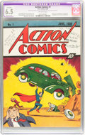 Golden Age (1938-1955):Superhero, Action Comics #1 Court Copy (DC, 1938) CGC Apparent FN+ 6.5 Moderate (P) Off-white pages....