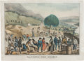 "Western Expansion:Goldrush, California Gold Digger Print. This hand-colored lithograph measures10"" x 13.5"" and is titled ""California Gold Diggers. Mini..."