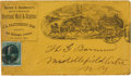"Western Expansion:Cowboy, Postal Used Stage Coach Line Cover. This illustrated cover onyellow paper was issued for ""Barlow & Sanderson's SouthernOve... (Total: 2 Items)"