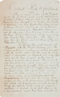 """Western Expansion:Cowboy, Overland Mail Route to California Manuscript. We offer twomanuscript pages, each 7.75"""" x 12.5"""", written on a single side,t... (Total: 2 Items)"""