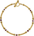 Estate Jewelry:Necklaces, Garnet, Gold Necklace, Slane & Slane. ...