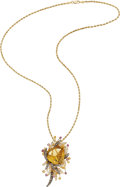 Estate Jewelry:Necklaces, Citrine, Colored Diamond, Diamond, Sapphire, Gold Pendant-Necklace, LeVian. ...