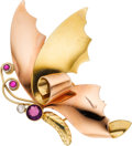 Estate Jewelry:Brooches - Pins, Amethyst, Pink Sapphire, Diamond, Gold Brooch, Tiffany & Co.. ...