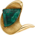 Estate Jewelry:Brooches - Pins, Malachite, Gold Clip-Brooch. ...