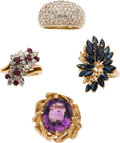 Estate Jewelry:Lots, Diamond, Sapphire, Ruby, Amethyst, Gold Rings. ... (Total: 4 Items)