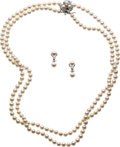 Estate Jewelry:Suites, Culture Pearl, Diamond, Gold Jewelry Suite. ... (Total: 3 Items)
