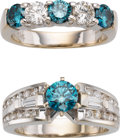 Estate Jewelry:Rings, Colored Diamond, Diamond, White Gold Ring Set. ...