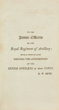 Books:First Editions, Ralph Willett Adye. The Bombardier, and Pocket Gunner.Boston: E. Larkin, 1804. First American edition from the ...
