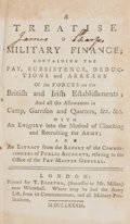 Books:Non-fiction, [John Williamson]. A Treatise on Military Finance. London,T. Egerton, 1782. Twelvemo. iv, 127 pages. Several ta...