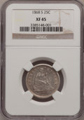 Seated Quarters, 1868-S 25C XF45 NGC....