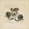 Prints:American, AMERICAN SCHOOL (Twentieth Century). Group of Terriers.Etching. 9-1/4in. x 10in.. Signed illegibly in pencil at lower r...(Total: 1 Item)