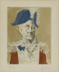 Prints:American, JACK LEVINE (American, b. 1915). Italian General. Coloredetching, ed. 73/120. 4in. x 3in.. Signed in pencil at lower ri...(Total: 1 Item)