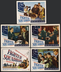 "Fighter Squadron (Warner Brothers, 1948). Title Lobby Card and Lobby Cards (4) (11"" X 14""). War. ... (Total: 5..."