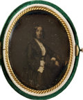 Photography:Daguerreotypes, Oval Ninth Plate Daguerreotype of an Elegant Woman, Circa 1855....