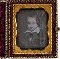 Photography:Daguerreotypes, Ninth Plate Daguerreotype of an Early Nineteenth Century Painting of a Little Boy....