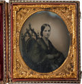Photography:Ambrotypes, Sixth Plate Ambrotype of an Attractive, Elegantly Dressed Young Woman, Circa 1860. ...