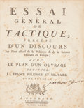 Books:Non-fiction, [Jacques Antoine Hippolyte Guibert]. Essai General deTactique... Londres: Chez les Libraires Associes, 1772. Twooc...